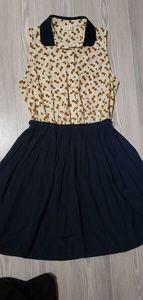 Flowy navy blue amd cream dress size medium
